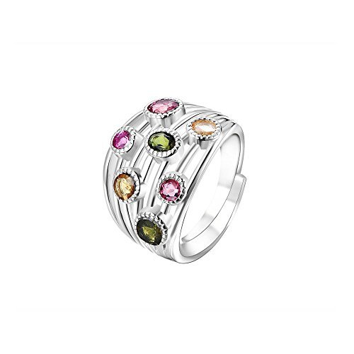 (COLORFEY Gemston Rings Sterling Silver Semi-Precious Tourmaline Stone Adjustable Rings for)