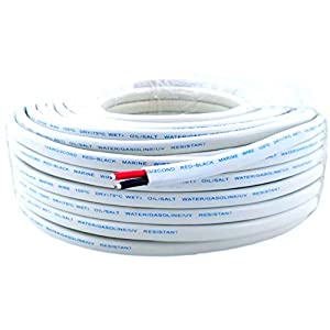 14 AWG (American Wire Gauge) Tinned Pure OFC Copper Red Black Duplex Sheathed Outdoor Marine Boat Wire. | Cable Length…