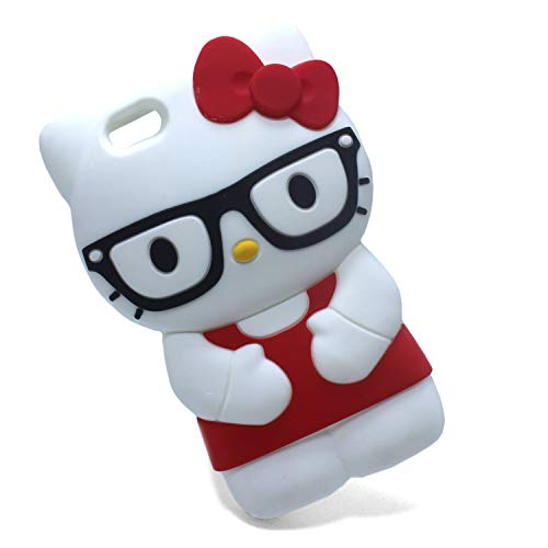 Xzihao iPhone SE/5s/5s 3D Cartoon Case,Cute Animal Red Erect Glasses Hello Kitty Cat Cover Soft Silicone Rubber Protective Skin Cases for iPhone - Hello Kitty Case 5s