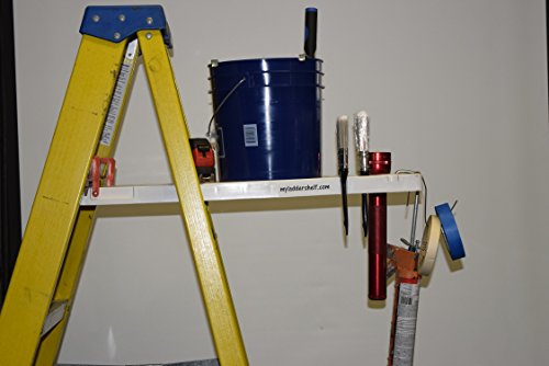 Ladder Shelf Systems -Heavy Duty -Multifunctional -Time saving - Professional Grade molded plastic pail shelf - attaches to most Warner, Louisville, and Keller brand single sided A-frame step ladders by Ladder Shelf Systems (Image #3)