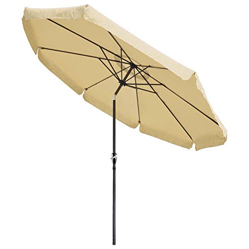 10' ft Crank Tiltable Aluminum Tan Umbrella Patio Market Outdoor Deck Beach