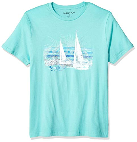 (Nautica Men's Short Sleeve Crew Neck 100% Cotton Graphic Sail T-Shirt, Poolside Aqua,)