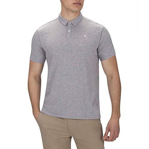 Hurley Men's Nike Dri-Fit Short Sleeve Polo, Light Grey Heather - Cotton Hurley Polo Shirt