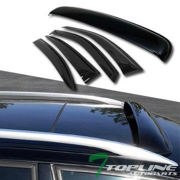 Topline Autopart Smoke Window Deflector Vent Shade Guard + Sunroof Moonroof Sun Moon Roof Visors 5 Pieces For 08-12 Honda Accord 4 Door Sedan ()