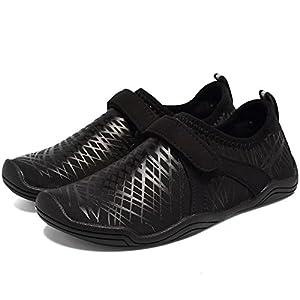 CIOR FANTINY Boys & Girls Water Shoes Lightweight Comfort Sole Easy Walking Athletic Slip On Aqua Sock(Toddler/Little Kid/Big Kid) Driving DKSX-Black-36