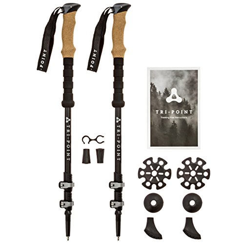 Price comparison product image 3K Carbon Fiber Trekking Poles - Collapsible Adjustable Lightweight - Strong Metal Quick Locks with Cork Grips - Hiking Running Nordic Walking Sticks -Telescoping Fitting Tall/Short Men Women & Kids