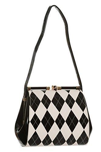 965904617e06c Tanzende Tage von Banned Eleanor Vintage Handtasche Kariert - 2 Farben -  Weiß