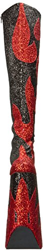 Devious High Heel Plateau Drag Queen Overknee Stiefel SPLASHY-3020 Rot Silber, Größe F:6 US / 36
