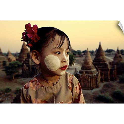 (CANVAS ON DEMAND Scott Stulberg Wall Peel Wall Art Print Entitled Young Burmese Girl with Tanaka Facepaint Above The Temples of Bagan, Burma 18