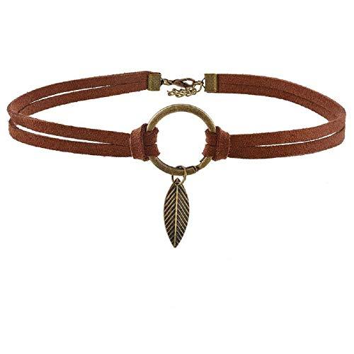 MJartoria Native American Bohemian Feather Charm Handmade PU Leather Choker Necklace (Brown Leaves) ()