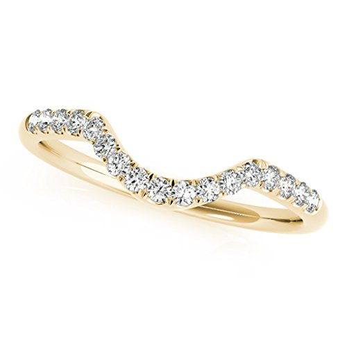 0.17 Carat Diamond Wedding Band In 14K Solid Yellow Gold