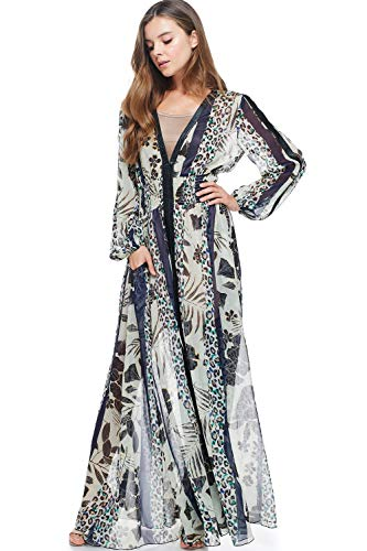 (TOV Animal Printed PU Leather Lining Smocked Waist Silkey Maxi Dress Black)