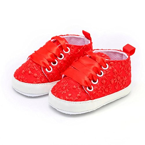 Red Sole Lace - Baby Shoes,AutumnFall Newborn Toddler Infant Girls Cute Lace Floral Embroidery Soft Sole Casual Shoes (Age:6-9M, Red)