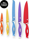 Vremi 10 Piece Colorful Knife Set - 5 Kitchen Knives with 5 Knife Sheath Covers - Chef Knife Sets with Carving Serrated Utility Chef's and Paring Knives - Colored Knife Set with Matching Color Case