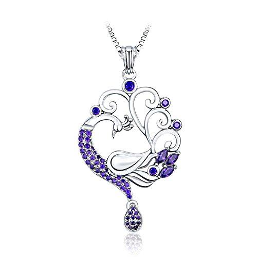 Purple Peacock Pendant Necklace CZ Rhodium Plating Fashion Jewelry, BFF/Anniversary Gift for Women, 20
