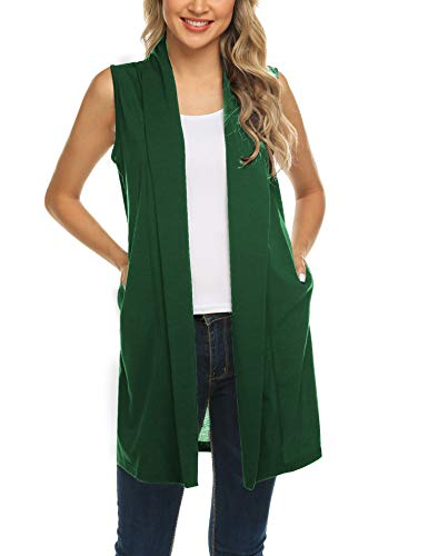 - Womens Long Vests Sleeveless Draped Waterfall Lightweight Open Front Cardigan Vest with Side Pockets Dark Green XL