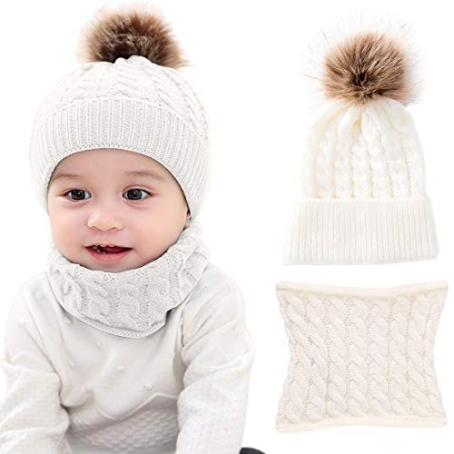 Yinuoday 2PCS Toddler Baby Knit Hat Scarf Winter Warm Beanie Cap with Circle Loop Scarf Neckwarmer