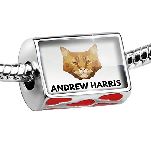Orange Cat Charm - Bead Personalized Name Orange Tabby Cat Charm with hearts by NEONBLOND