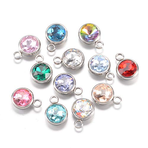 Pandahall 25-Piece Mixed Color Flat Round Faceted Glass Rhinestone Beads Pendants Charms with 304 Stainless Steel Bail 0.55 Inch for Jewelry Making