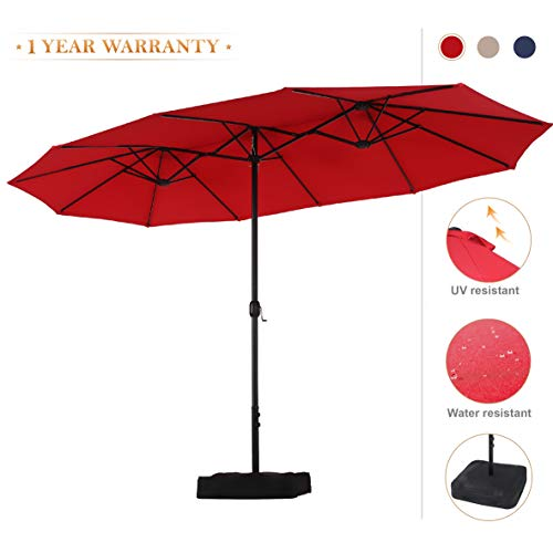 PHI VILLA 15ft Double-Sided Extra Large Patio Umbrella (Base Included) Outdoor Twin Umbrella (Red)