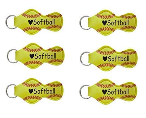 Softball Team Gifts for Girls Teens Players Mom Coaches Bulk Lip Balm Holder - Set of 6 -