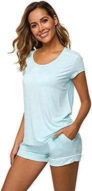 WiWi Women's Bamboo Scoop Neck Pajamas Shorts Sets Cap Sleeve Sleepwear Nightwear Pjs S-XXXXL(