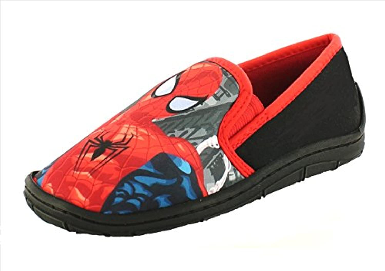 Boys SPIDERMAN SLIPPERS in Black and Red Slip on Style (UK child 8)