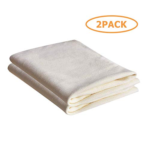 (SMARTECH 2 Pack Professional Mocrofiber Cleaning Towel for Car Drying, Super Absorbent Aithout Lint Residue  Chamois Cloth)