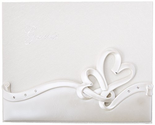 Fashioncraft Interlocking Hearts Design Wedding Guest Book White