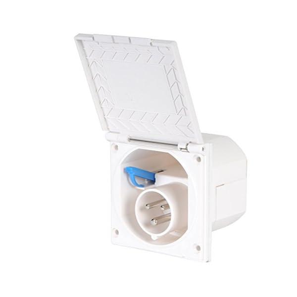41QkVD0LYmL wamovo CEE Aussensteckdose weiß Spritzwasser geschützt 200-240V, 16A, 3 polig IP44