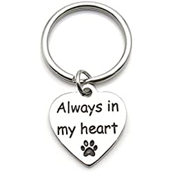 Pet Dog Memorial Keychain Always In My Heart Pet Paw Memorial Keychain Pet Sympathy Gift