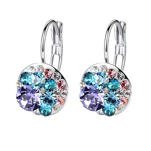 Multicolored Swarovski Crystal Earrings for Women Girls 14K Gold Plated Leverback Dangle Hoop Earrings (Purple Main Crystal/Silver-tone) ()