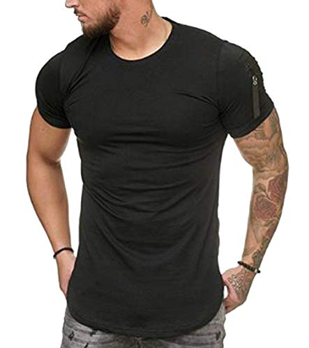 Mens Bodybuilding Short Sleeve T-Shirts Muscle Fitness Tee Tops (Black A, US-M=Tag L(Asian Szie))