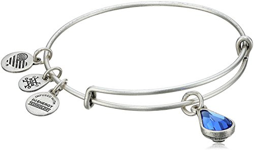 Alex and Ani September Birth Month Charm with Swarovski Crystal Rafaelian Silver Bangle Bracelet
