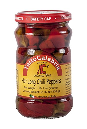 Tutto Calabria Hot Long Calabrian Chili Peppers 10.2 Oz. (Hot Chile Pepper)