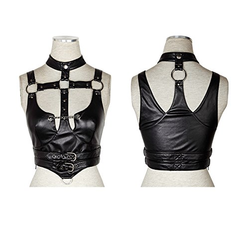 Punk Rave Women Sexy Spaghetti Straps Leather Crop Top (S)