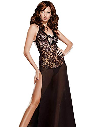 (HiSexy Women's Sexy See Through Lingerie Backless Split Halter Sleepwear Long Floral Lace Night Gown Black 2XL )