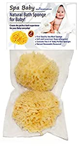 """Spa Baby Natural Bath Sponge! Especially Selected for Your Baby! by Spa Destinations. SAVE 35% On Our Exclusive TWO (2) PACK!!! Create The """"Perfect Bath"""" For Your Baby! 100% TOTAL SATISFACTION GUARANTEE or Your! Also the """"Perfect Gift"""" for Mom!"""