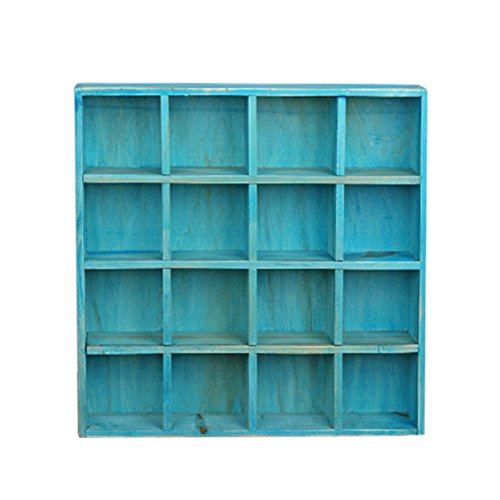 16 Compartment Vintage Wood Cupboard Wall Mounted Storage Cabinet for Collection Display Stand,Blue (Vintage Snack)
