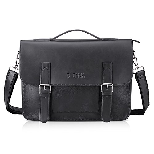 BIENNA Messenger Bag, Vintage Briefcase PU Leather Satchel Laptop Over Shoulder Crossbody Sling Bag Handbag Side Bags with Strap for Men Women Business Office Travel School 14-Black