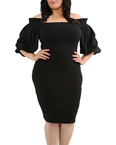 Lalagen Women's Plus Size Half Sleeve Bodycon Knee Length Pencil Party Dress Black XL (Puff Shoulder Dress)