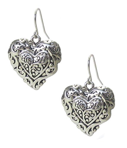 (Small Embossed Antiqued Victorian Nouveau Style Silver-Tone Puffy Look Heart Dangle Earrings 1 3/16