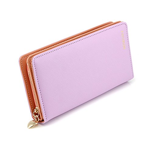 Oct17 Fashion Women Faux Leather Wallet Clutch Card Holder Zip Purse Lady Long Handbag – Purple