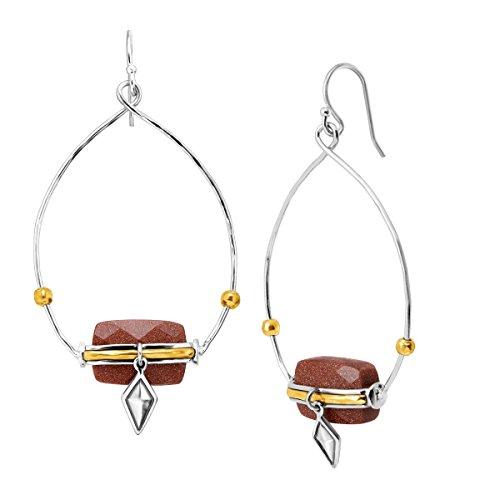Silpada Warm Hues Natural Goldstone Open Drop Earrings in Sterling Silver & Brass