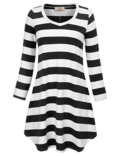 GRACE KARIN Women's Long Sleeve Stripe Casual T-Shirt Dress Tops White and Black Stripe (Grace Stripe)