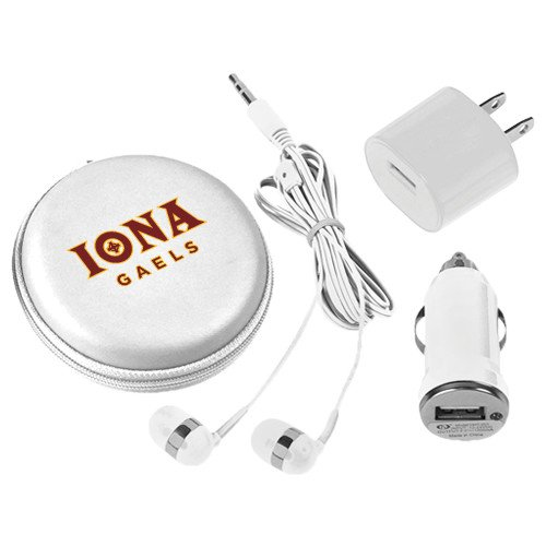 Iona 3 in 1 White Audio Travel Kit 'Official Logo' by CollegeFanGear
