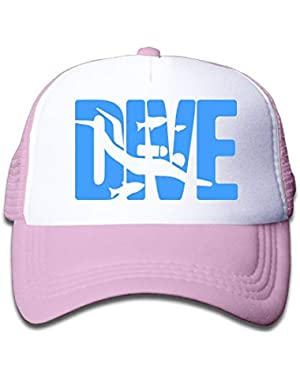 Dive Scuba Diving 1 On Boys and Girls Trucker Hat, Youth Toddler Mesh Hats Baseball Cap