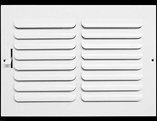 10w x 8h 1-Way Fixed Curved Blade AIR Supply Diffuser - Vent Duct Cover - Grille Register - Sidewall or Ceiling - High Airflow - White