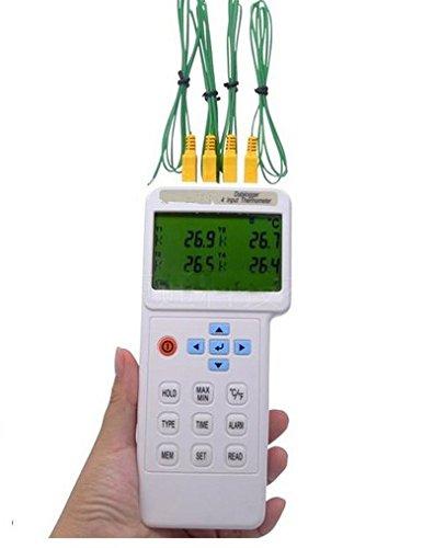 GOWE USB 4 canales entrada Termómetro termopar K J E T R S N L U B C tipos registrador de datos con: Amazon.es: Bricolaje y herramientas