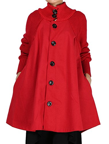 Mordenmiss Women's Knit Wool Coat Turtleneck Button Down Overcoat XL Red